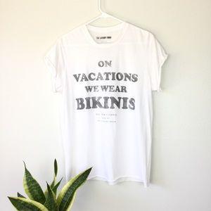 The Laundry Room ivory bikini raw hem tee xs/sm